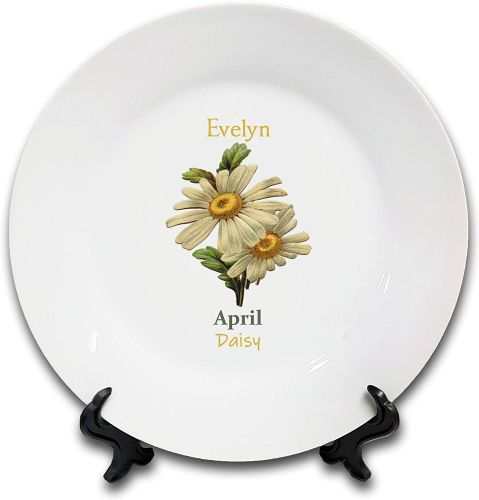 Personalised Flower of The Month April Novelty Gift Ceramic Plate & Stand